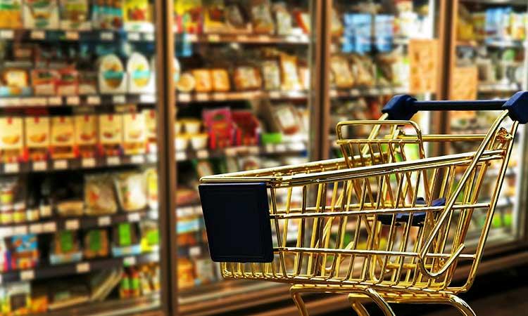 Hausmarken und No name Produkte, Einkaufswagen vor Kühlregal