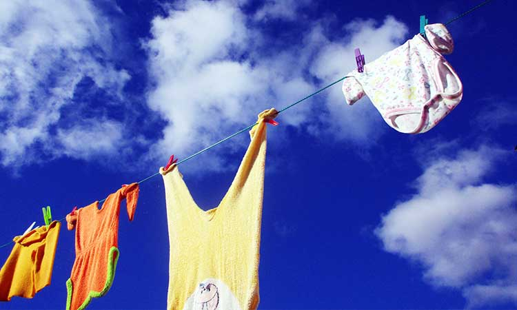Air drying, laundry in front of a blue sky
