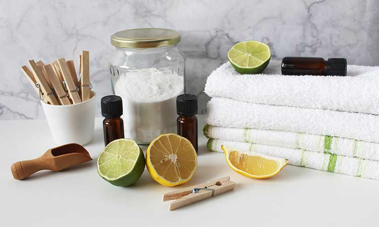 fresh laundry, citrus fruits and white towels