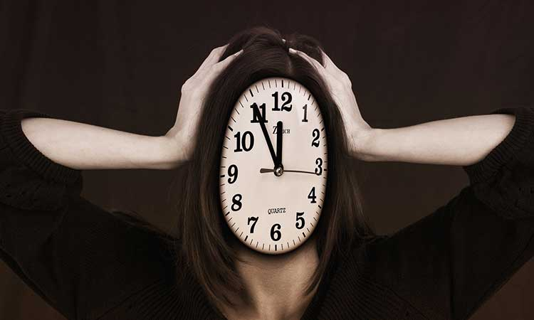 Woman with clock for head