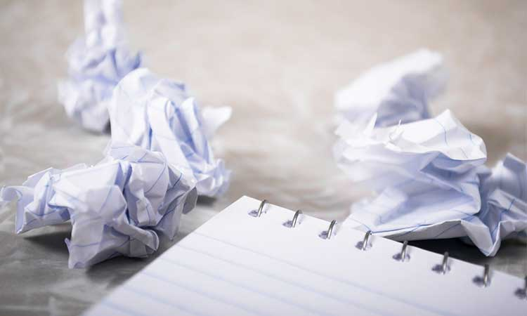 Get things done, pad with crumpled paper