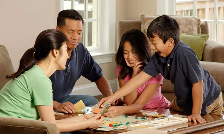 spending time with family at home, board game