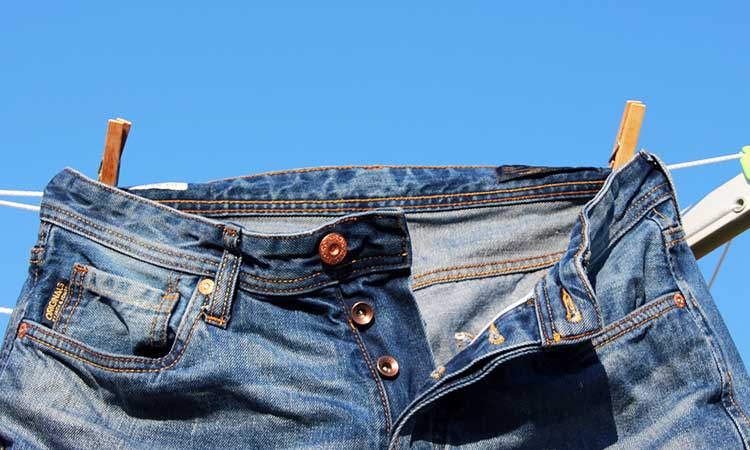 Jeans outside to dry