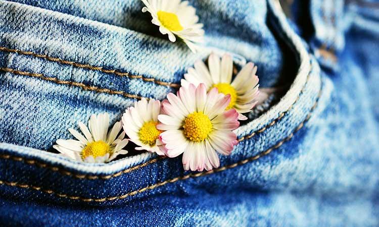 saubere Jeans, Tasche, Gänseblümchen