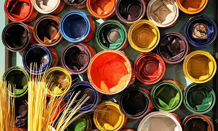 color pots, painting