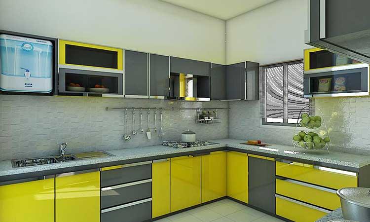 Grau-gelbe Küche