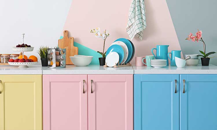 Küche aus Pastellfarben