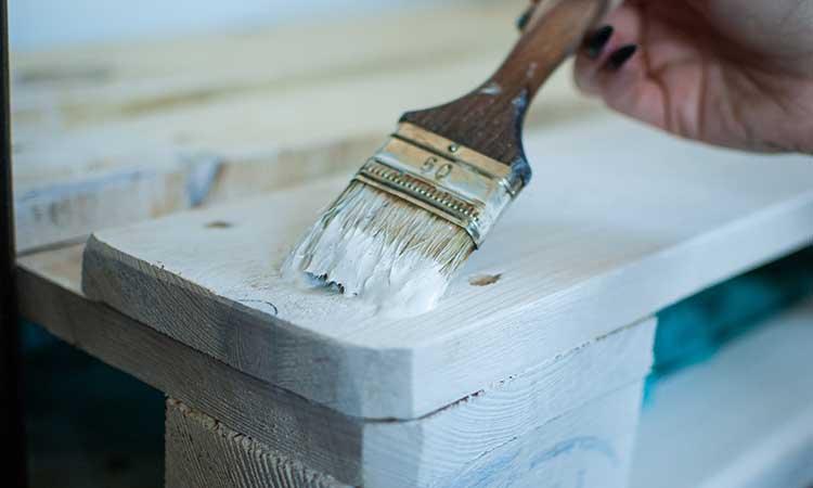 painting furniture, brush, white paint