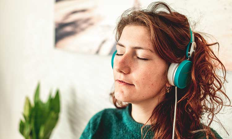 woman with headphones, tranquility