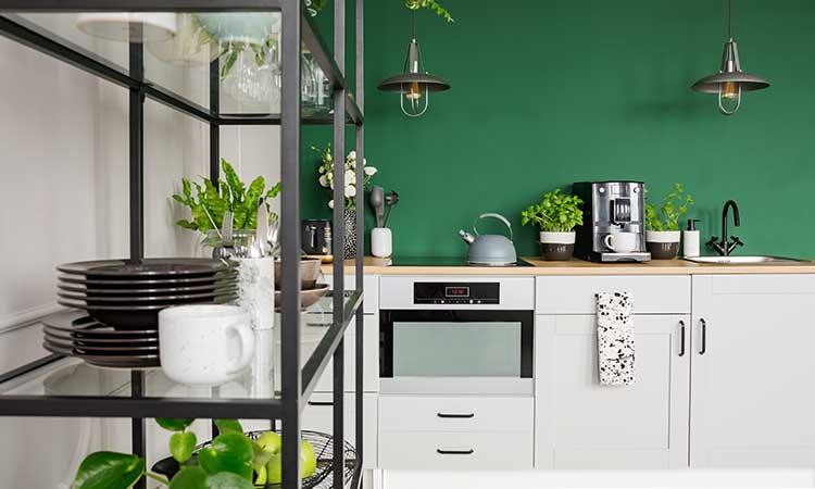Weiße Küche mit grüner Wandfarbe